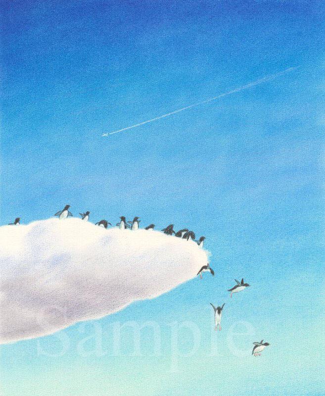 そら飛ぶペンギン ペンギンと飛行機雲 イラスト 色鉛筆 下北沢