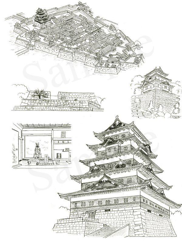 「日本の名城 解剖図鑑」 江戸城 イラスト 鉛筆画 | いとう良一イラスト作品集