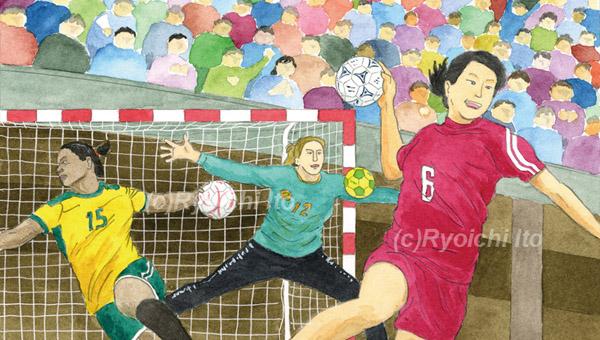 第2270回西日本宝くじ(熊本県)《透明水彩》(22.6cm×12.8cm)  2019年10月2日(水)~22日(火)発売の西日本宝くじ「2019年女子ハンドボール世界選手権(熊本)」のイラスト。 ゴールの網は別紙に鉛筆線で描いて、Photoshop上で白線に反転させて合成しています。 開催国の日本人をアジアとして、白人や黒人などバランス良く入れるという指定でした。