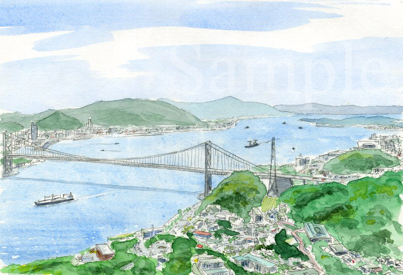 福岡県 関門海峡《色鉛筆》 (22cm×15cm)