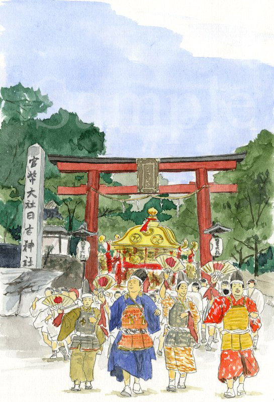 滋賀県 日吉大社の山王祭《色鉛筆》 (22cm×15cm)