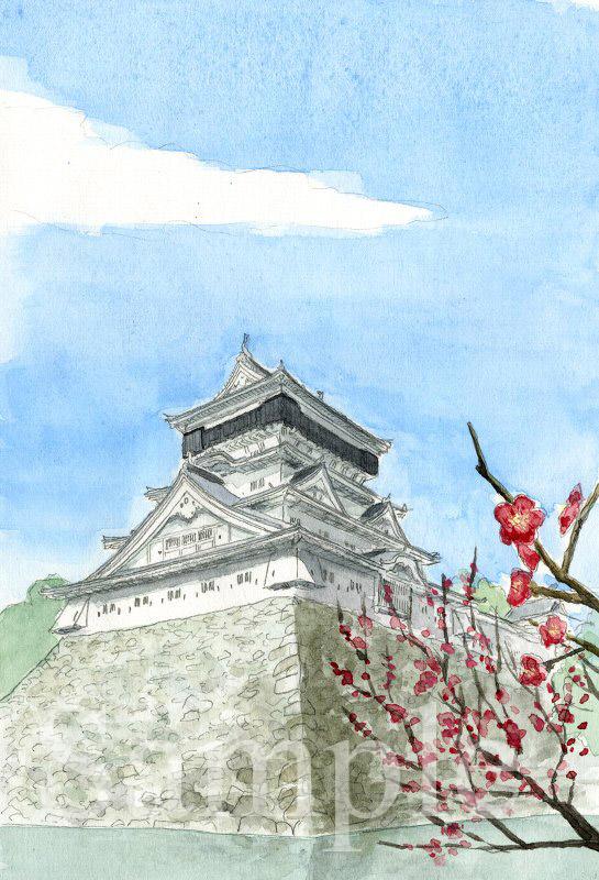 福岡県 小倉城《色鉛筆》 (22cm×15cm)