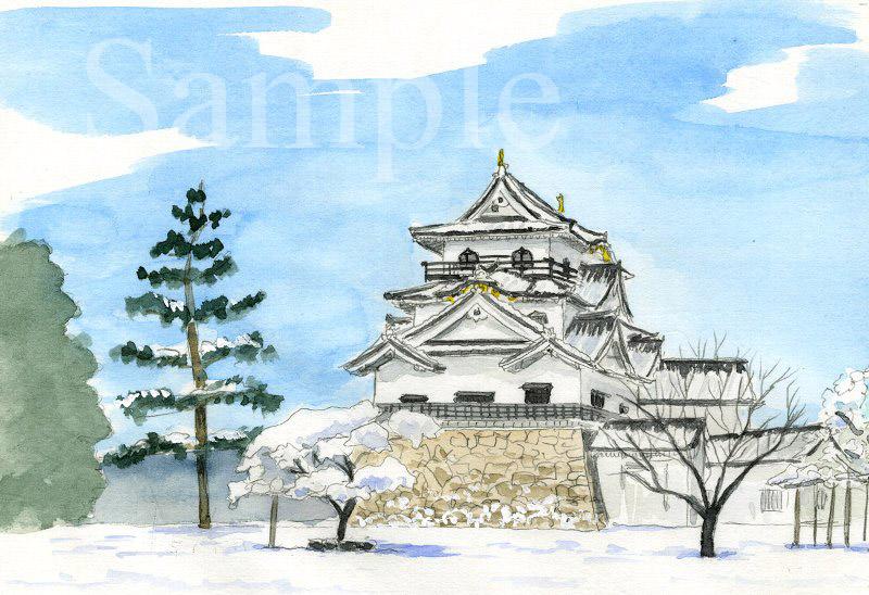 滋賀県 彦根城《色鉛筆》 (22cm×15cm)