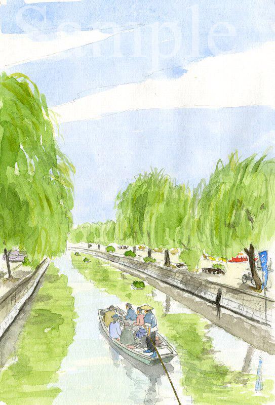 福岡県 柳川のお堀めぐり《色鉛筆》 (22cm×15cm)