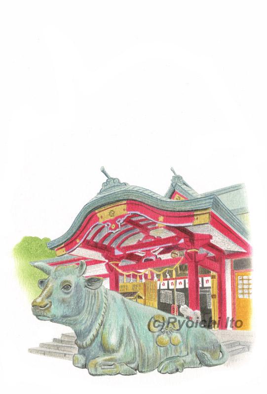 小倉・菅原神社の撫で牛《色鉛筆》(22cm×15cm) 「あっという間にかんたん 和年賀状2021年版(技術評論社)のためのイラスト