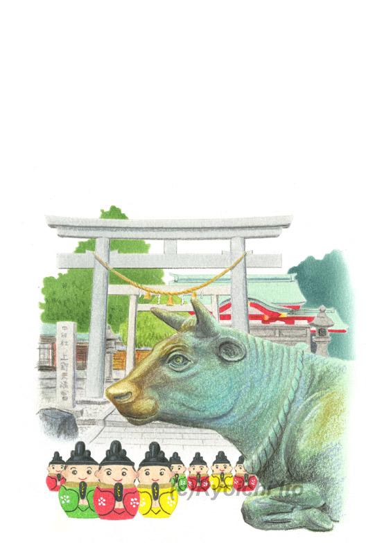 名古屋・上野天満宮の撫で牛と道真おみくじ《色鉛筆》(22cm×15cm)「あっという間にかんたん 和年賀状2021年版(技術評論社)のためのイラスト