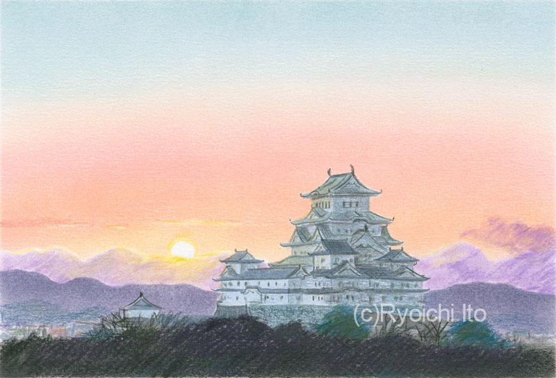 姫路城(兵庫県)《色鉛筆》 (22cm×15cm)