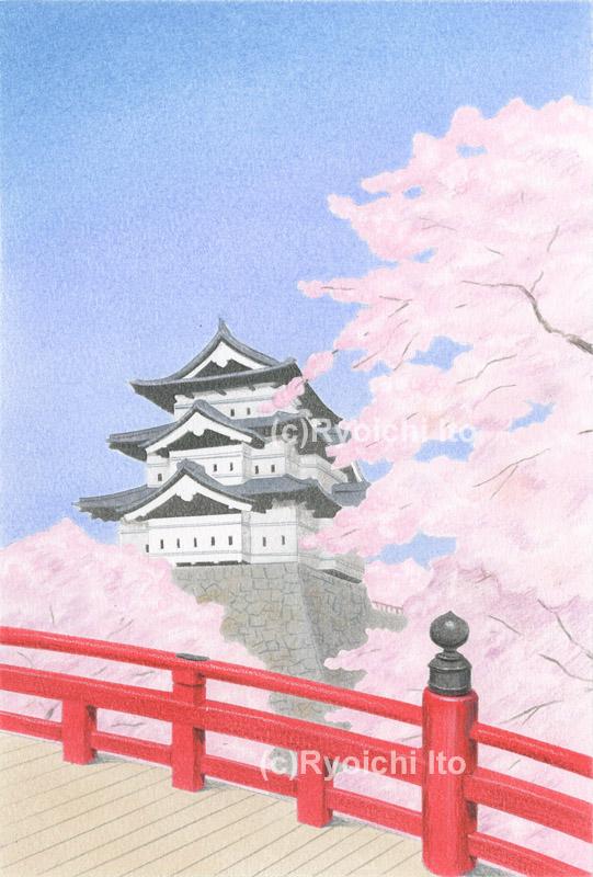 弘前城《色鉛筆》 (22cm×15cm)