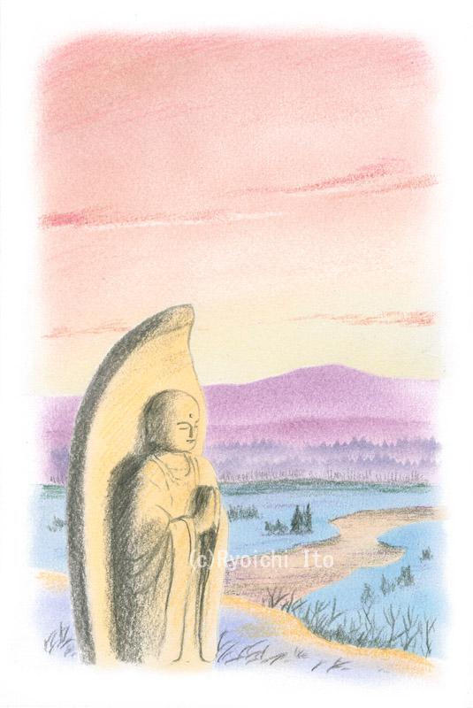 御来光と地蔵菩薩《色鉛筆》 (22cm×15cm)