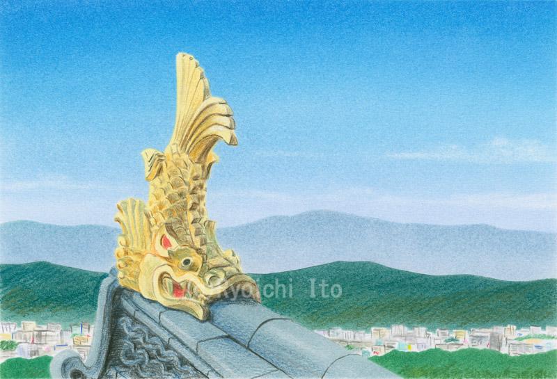 岡山城の鯱《色鉛筆》 (22cm×15cm)