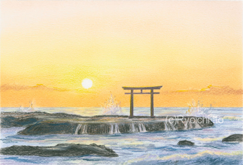 大洗海岸の大洗磯前神社鳥居(茨城県)《色鉛筆》 (22cm×15cm)