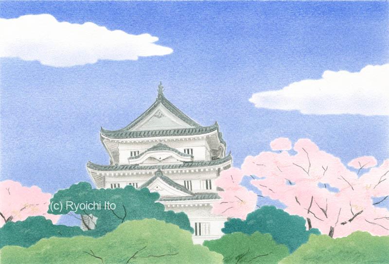 愛媛・宇和島城《色鉛筆》 (22cm×15cm)