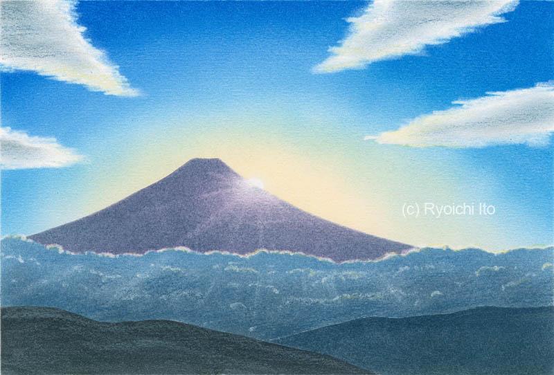 富士のご来光《色鉛筆》 (22cm×15cm)