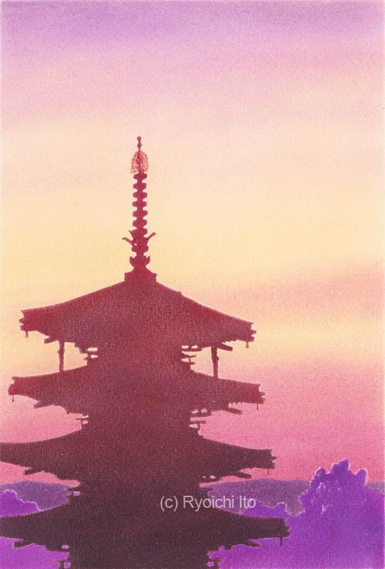 法隆寺・五重塔《色鉛筆》 (22cm×15cm)