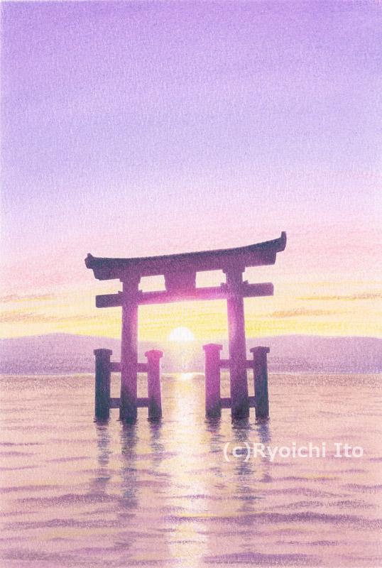 琵琶湖・白鬚神社《色鉛筆》 (22cm×15cm)