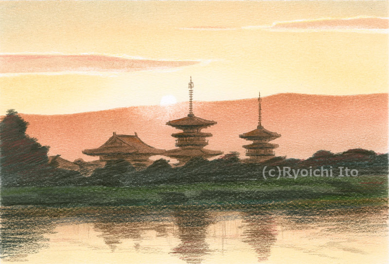 薬師寺と御来光《色鉛筆》 (22cm×15cm)