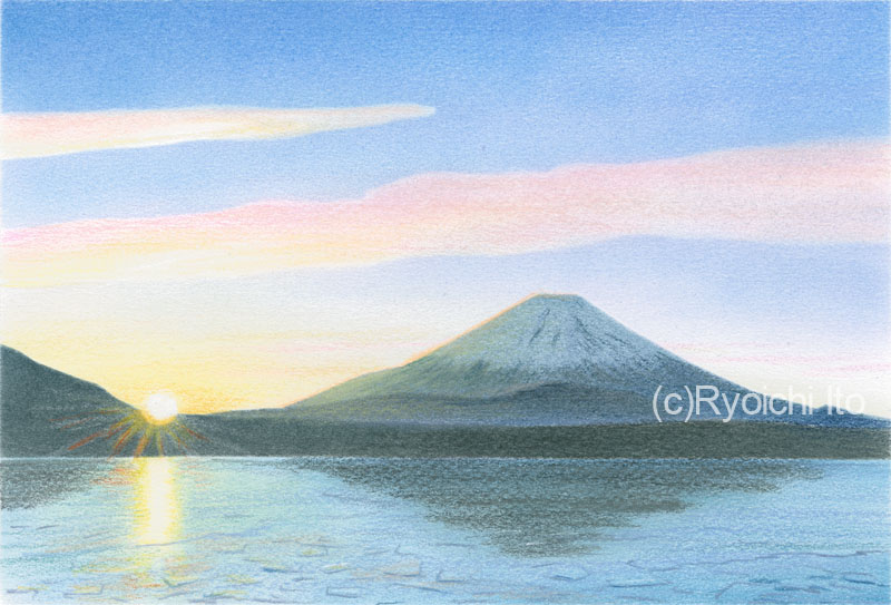 精進湖から見る富士《色鉛筆》 (22cm×15cm)