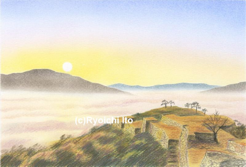 竹田城跡《色鉛筆》 (22cm×15cm)