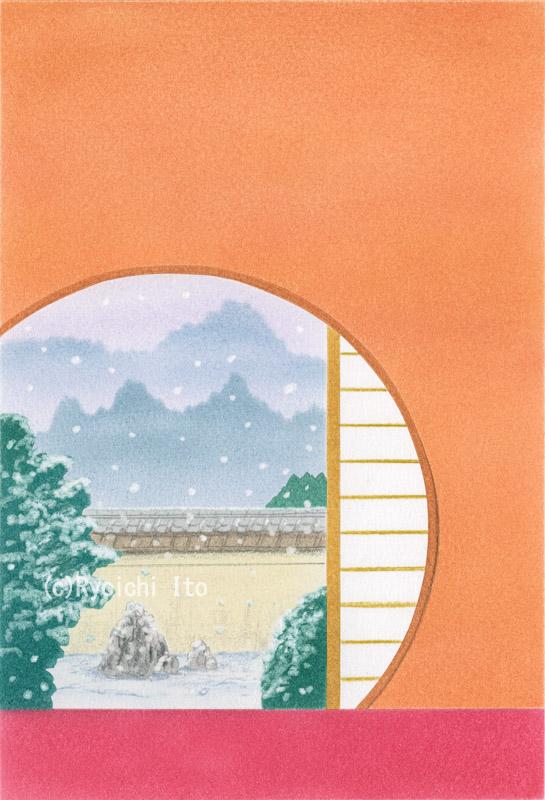 元旦の和室《色鉛筆》 (22cm×15cm)