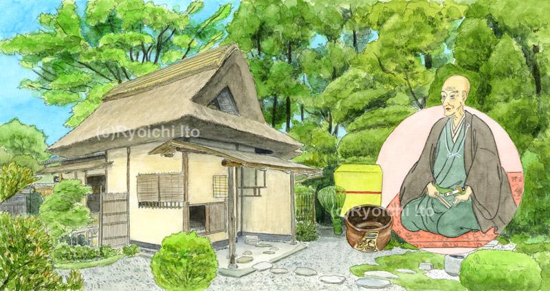 第2270回西日本宝くじ 不味公200年祭(島根県)《透明水彩》(28.2cm×14.2cm) 六義園とあじさいの紅まりを描きました。 歴代の松江藩主の中で、松江藩中興にして大名茶人として名高い松平家7代藩主の松平治郷(はるさと)、通称「不味公(ふまいこう)」の没後200周年を記念した「不味公200年祭」に連動した宝くじです。