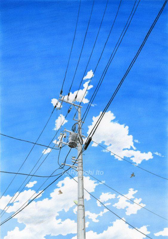 オリジナル色鉛筆画「仕事師の夏」