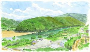 岩間の沈下橋 四万十川 色鉛筆画 イラスト