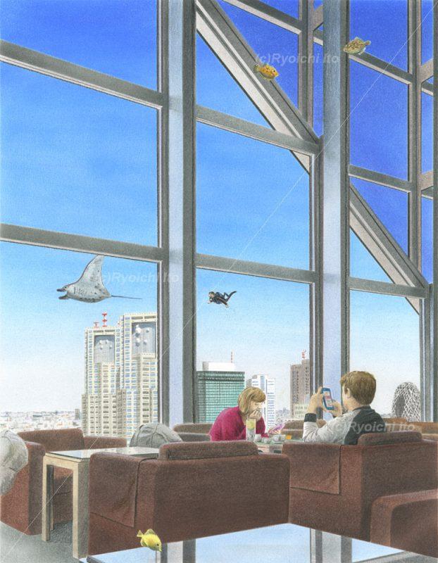 マンタ、西新宿の空を飛ぶ with ダイバー