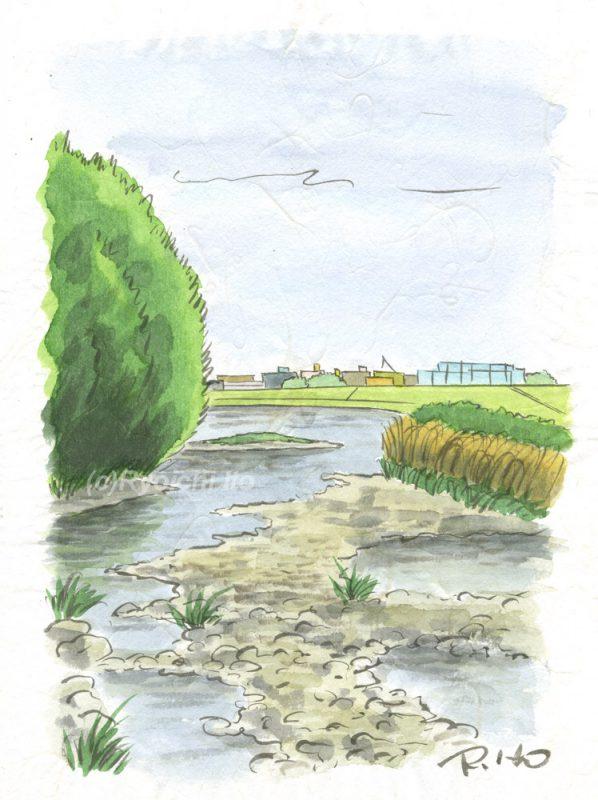 水彩画「多摩川」