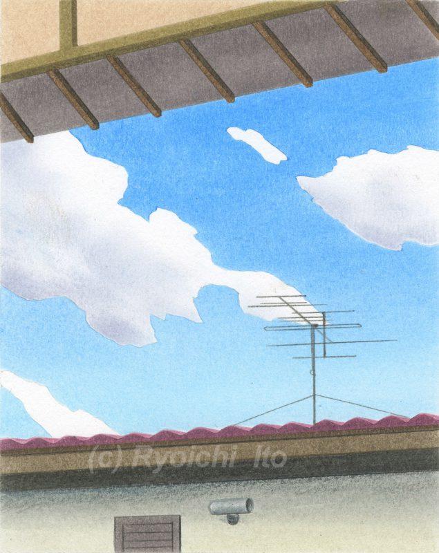 オリジナル色鉛筆画「あの日の空」